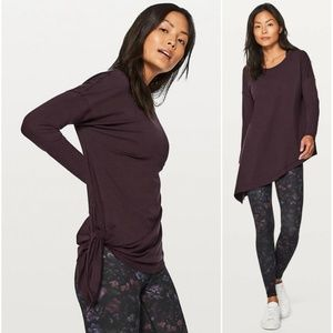 NWT Lululemon Black Cherry To The Point LS Top